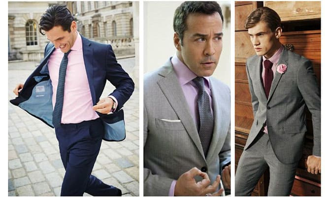 Charcoal gray or navy-blue suit