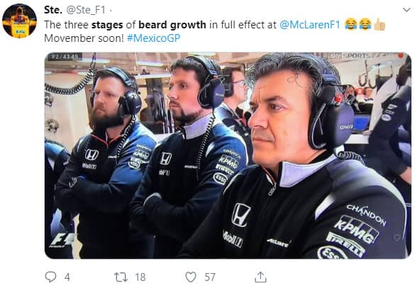 Beard growth stages at McLaren F1